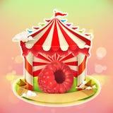 Fruit jam poster raspberries Stock Image
