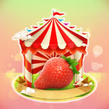 Fruit jam poster strawberry Royalty Free Stock Image