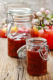 Fruit jam in preserving jar Stock Photos