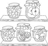 Fruit jam on the shelf. Fruit jam on the wood shelf in a pantry. Coloring book page in doodle style. Hand draw Royalty Free Stock Photos