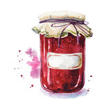 Fruit jam with a sticker. Mason jar. Watercolor. Hand painted. Royalty Free Stock Photo