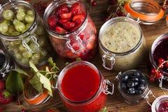 Fruit jamand, Set of glass jars Royalty Free Stock Image