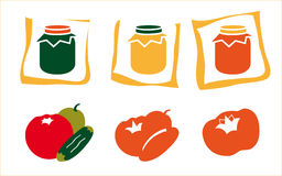 Fruit and jar icons. Illustrations of various fruits, vegetables and jars.  Isolated against a white background.  Vector format available Stock Photos