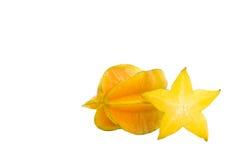 Fruit jaune de carambolier d'isolement sur le fond blanc Images stock