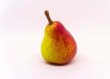 Fruit jaune rouge de poire d'isolement sur le fond blanc Fruit frais Photo libre de droits