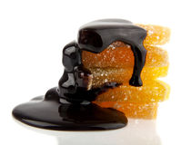 Fruit jellies in a chocolate Royalty Free Stock Images