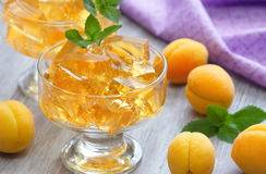 Fruit jellies with fresh apricots Royalty Free Stock Photos