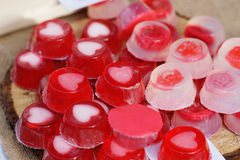 Fruit jellies hearts and roses stock image