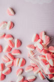 Fruit jellies  on the pink background vertical Stock Photos