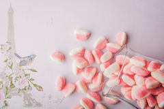 Fruit jellies  on the romantic pink background Royalty Free Stock Photography