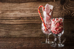 Fruit jellies and Turkish delight in the cocktail glass Royalty Free Stock Photo