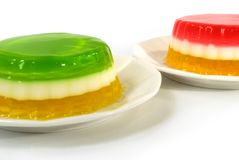 Fruit jelly. Dessert on a white plate Stock Photography