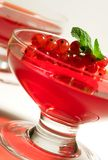 Fruit Jelly. In the glass bowl toped with fresh currant and mint leaf Royalty Free Stock Photography