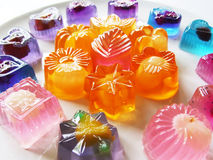 Fruit Jelly. Colorful fruit jelly on white plate Royalty Free Stock Image