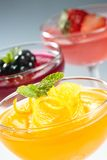 Fruit jelly. Jelly in the glass bowl top with fresh fruit and mint leaf Stock Image