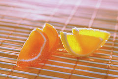 Fruit jelly on a bamboo table cloth Stock Photo