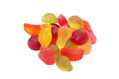 Fruit jelly beans. Assortment of jelly beans with shape and flavor to fruits cut and isolated Stock Photos