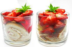 Fruit jelly biscuit dessert with strawberry Stock Photo