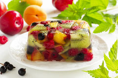Fruit jelly with champagne. Stock Photography