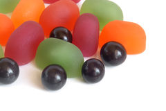 Fruit jelly and chocolate balls Royalty Free Stock Photography