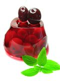 Fruit jelly dessert with cherry Stock Images