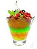 Fruit jelly dessert with wild strawberry Royalty Free Stock Image