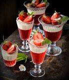 Fruit jelly in glasses Royalty Free Stock Images