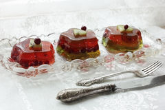 Fruit jelly with a knife and fork Royalty Free Stock Photos
