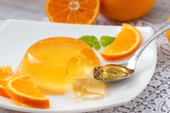 Fruit jelly with oranges. Fruit jelly with fresh oranges Royalty Free Stock Images