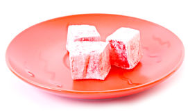 Fruit jelly on plate isolated Stock Photo