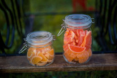 Fruit jelly slices in jars Royalty Free Stock Photos