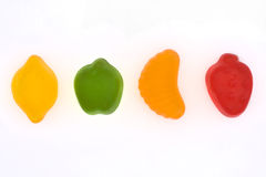 Fruit jelly sweets. A line of fruit jelly sweets Stock Photo