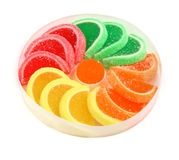 Fruit jelly sweets. Isolated on white Stock Photos