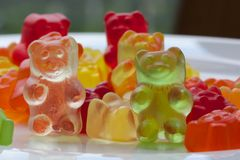 Fruit jelly sweets. Colorful fruit jelly sweet in the shape of a bear.Kids favourite sweet Royalty Free Stock Photo