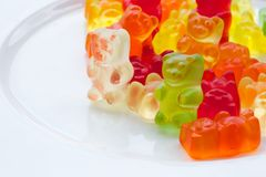 Fruit jelly sweets. Colorful fruit jelly sweet in the shape of a bear.Kids favourite sweet Stock Photos