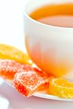 Fruit jelly and tea Royalty Free Stock Photography