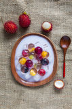 Fruit jelly. On the wooden table Royalty Free Stock Photos