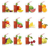 Fruit jouse banner with different fruits. Apple,banana,strawberry, Stock Photos