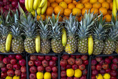 Fruit juice before. Fruits on display in front of a buffet of fruit juice before Stock Photo