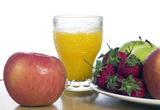 Fruit Juice. A apple and fruit juice with white background Stock Photography