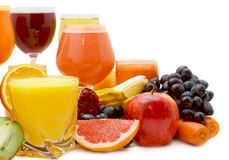 Fruit juice. Glasses of fresh juice from different fruit Royalty Free Stock Image