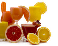 Fruit juice. Glasses of fresh juice from different fruit isolated on a white background Royalty Free Stock Photos