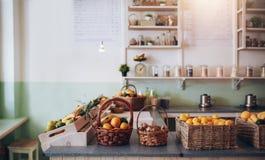 Fruit juice bar counter Royalty Free Stock Photos