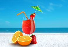 Fruit Juice at The Beach Royalty Free Stock Photos