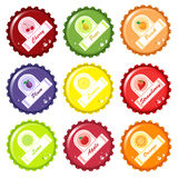Fruit juice bottle caps Royalty Free Stock Photography