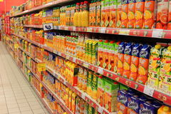 Fruit juice cartons. In supermarket Royalty Free Stock Images
