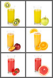 Fruit juice collage Stock Images