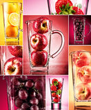 Fruit juice concept mosaic. Fruit juice unusual, in studio Royalty Free Stock Photography