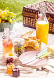 Fruit juice, croissants and fruit for a picnic Stock Images