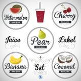 Fruit juice. Detailed Vector label set Royalty Free Stock Photos